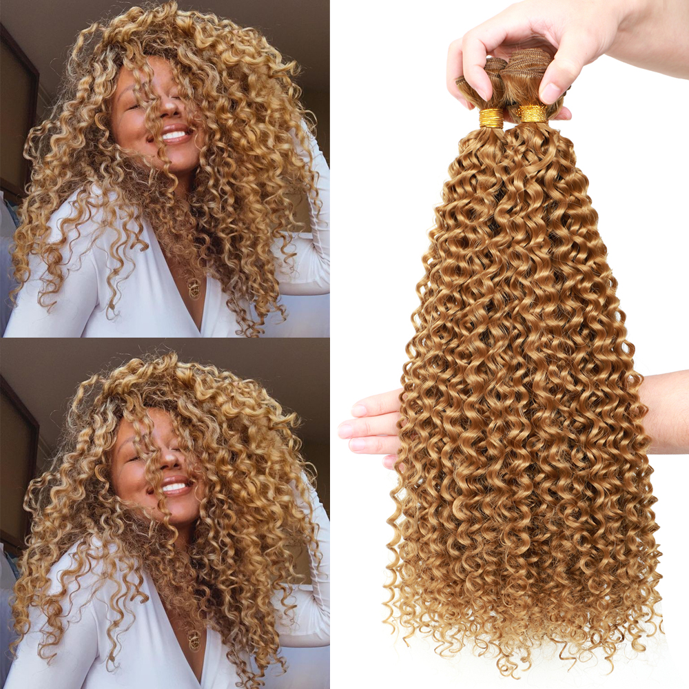 YUnRong Synthetic Hair Weave Blonde Black 613 Kinky Curly Hair Extensions 100g/Piece Heat Resistant Fiber Afro Curly Bundles
