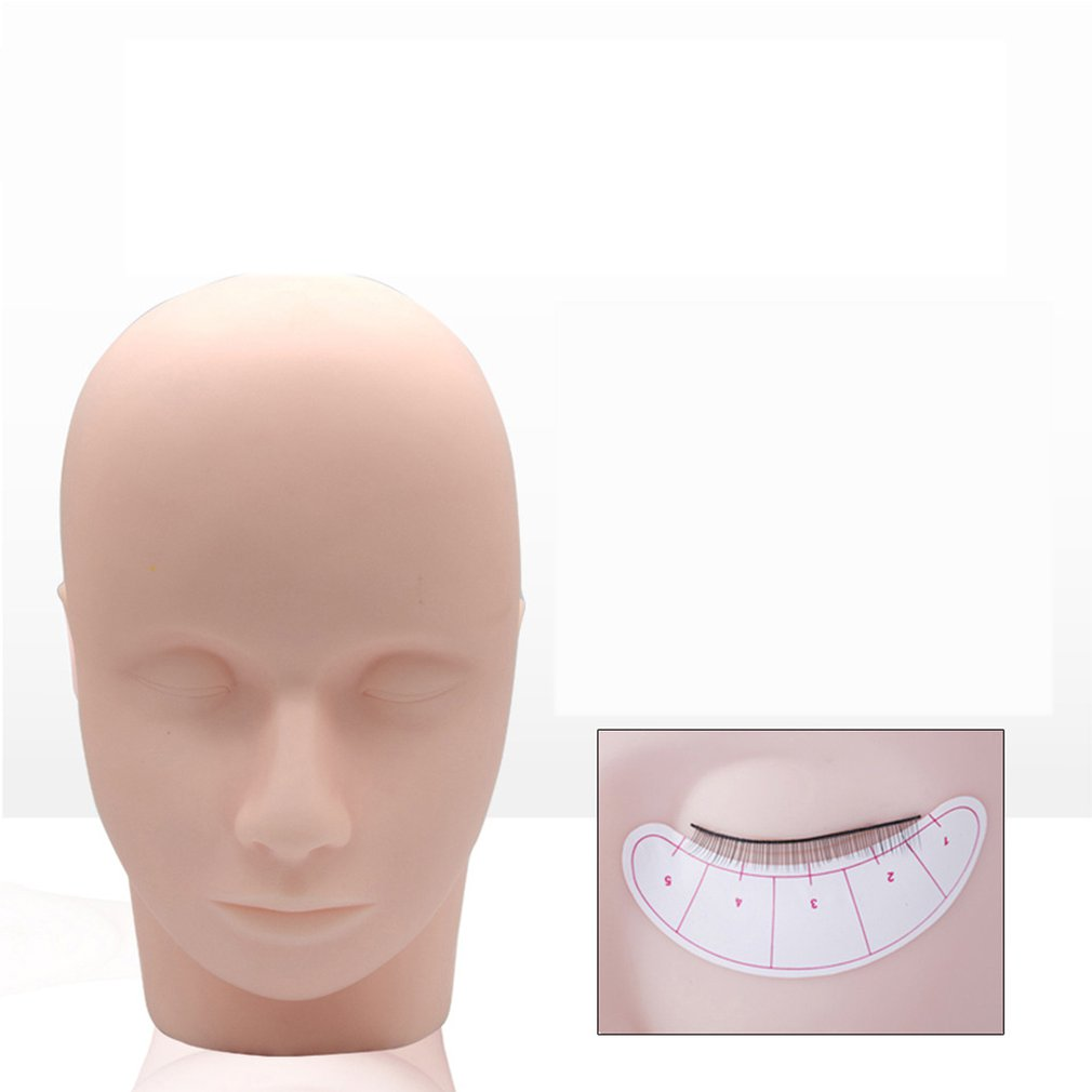 Portable Mannequin Head Flat Eye Facial Eyelash Eyelash Extension Practice Cosmetic Model Professional Training Heads Tool