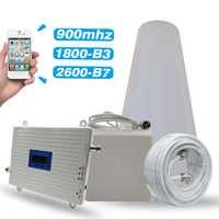 2G 3G 4G tri-band Booster GSM 900MHz + DCS/LTE 1800 (B3) + FDD LTE 2600 (B7) wzmacniacz sygnału telefonii komórkowej wzmacniacz antenowy