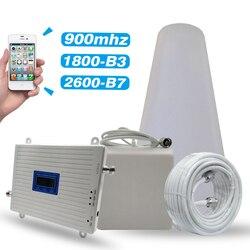 2G 3G 4G triple banda de refuerzo GSM 900MHz +/DCS/LTE 1800 (B3) + FDD LTE 2600 (B7) repetidor de señal para teléfono móvil celular amplificador antena conjunto