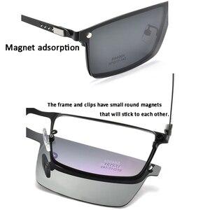 Image 4 - Optik gözlük çerçevesi erkekler kadınlar güneş gözlüğü üzerinde klip polarize manyetik gözlükleri erkek miyopi gözlük tam Metal