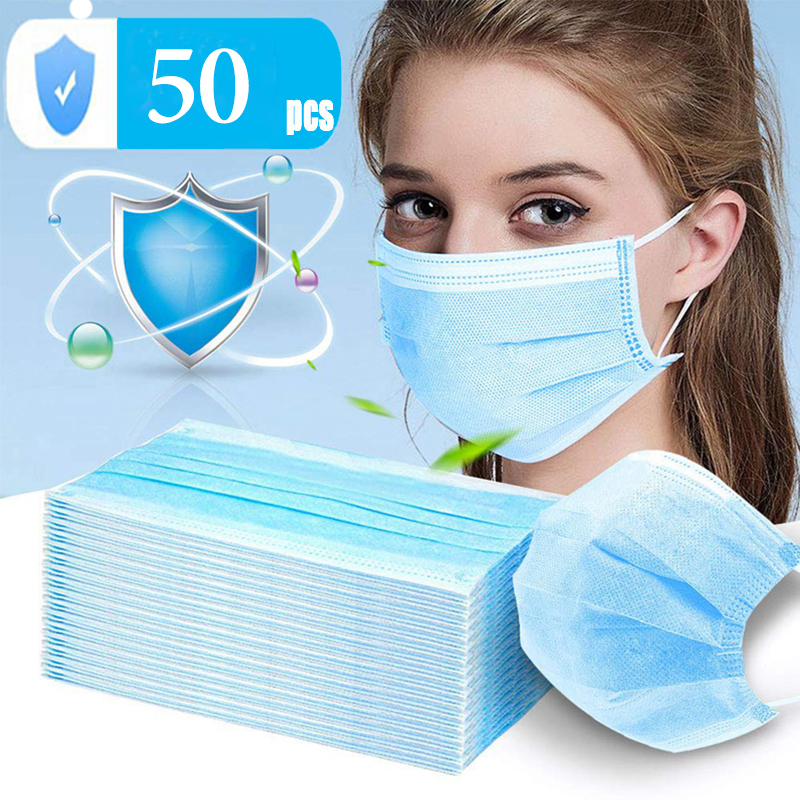 Fast Shipping 50 Pcs Disposable 3 Layer Mouth Mask Non-woven Mouth-muffle Thicken Face Masks In Stock