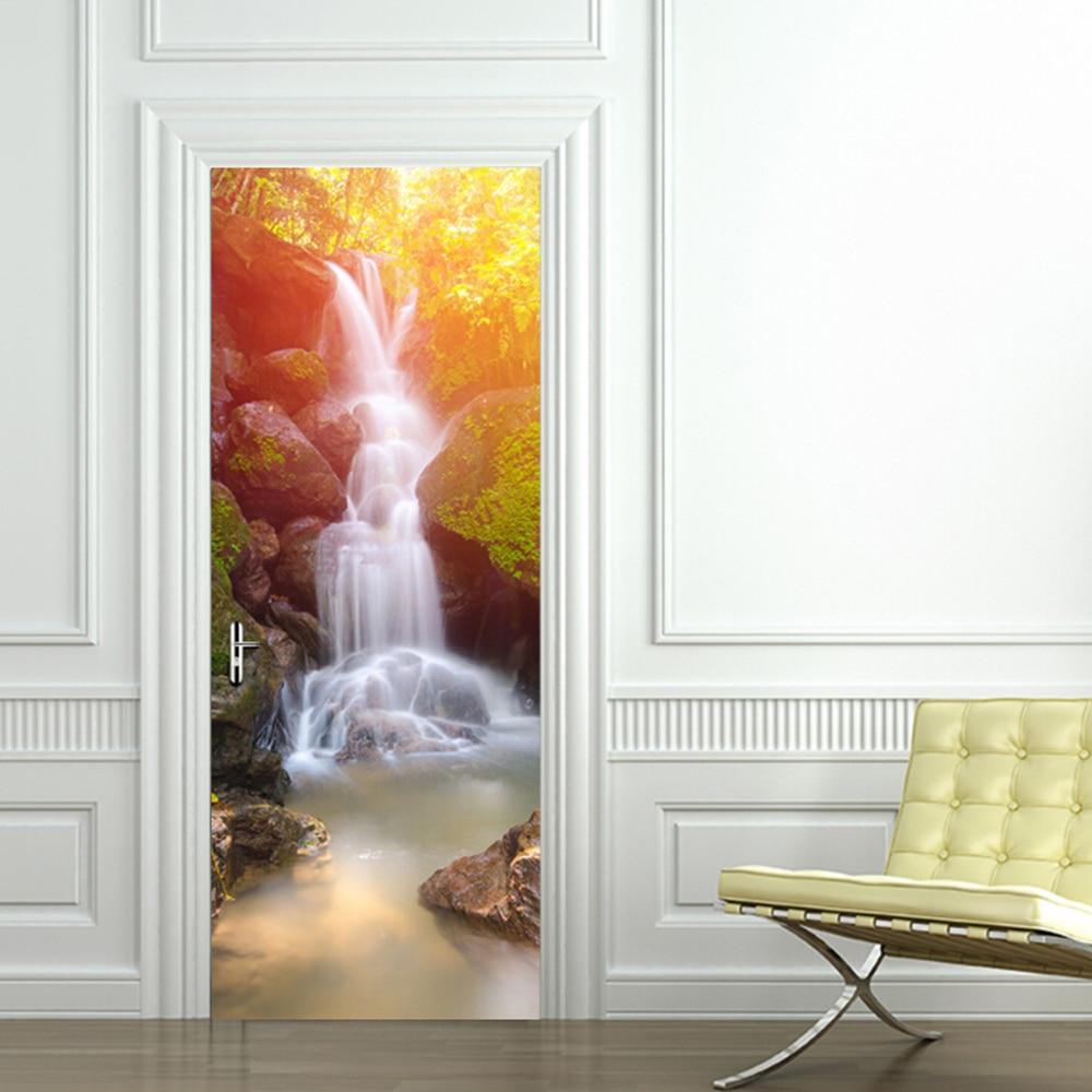 2 stuks Home Decoratie 3d sticker muur Adesive Landschap Art Behang Waterdichte Wand Deur Decor