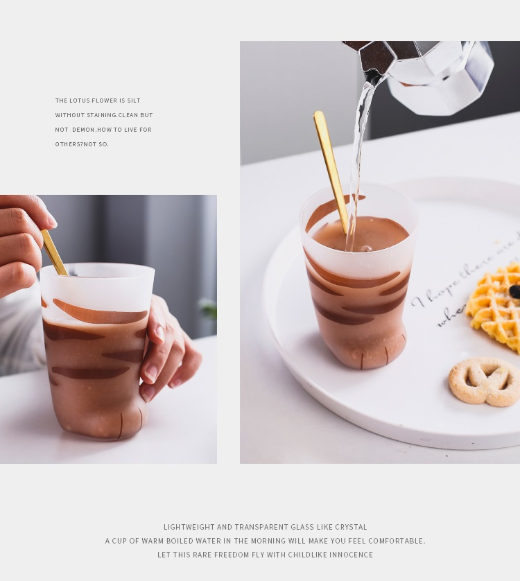 H9c7fbe3f3282488c8c86013ea1bd306ai - 350ml Mug Heat-resistant Glass Cat Cup Tiger Paws Office Matte Cat Paws Creative Milk Coffee Cup Cute Children Drink Bottle
