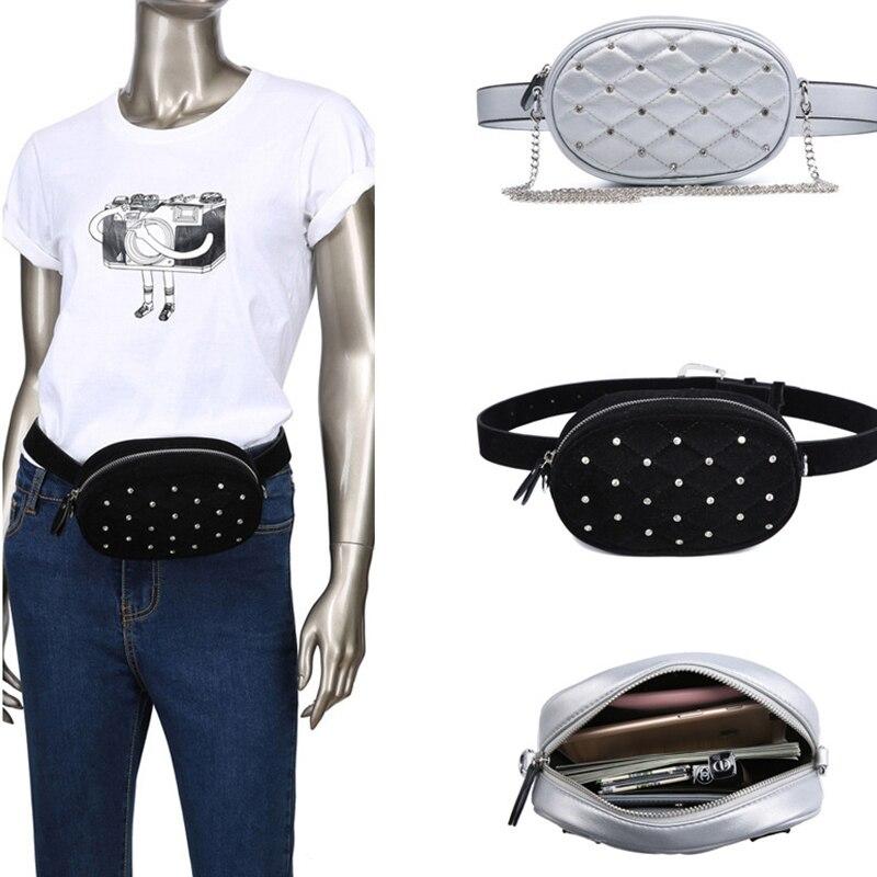 Women WaistBag Fanny Pack Chest Leather Cross Body Rivet 2019 Fashion Multi-functional Outdoor Small Hip Belt Women Waist Bag