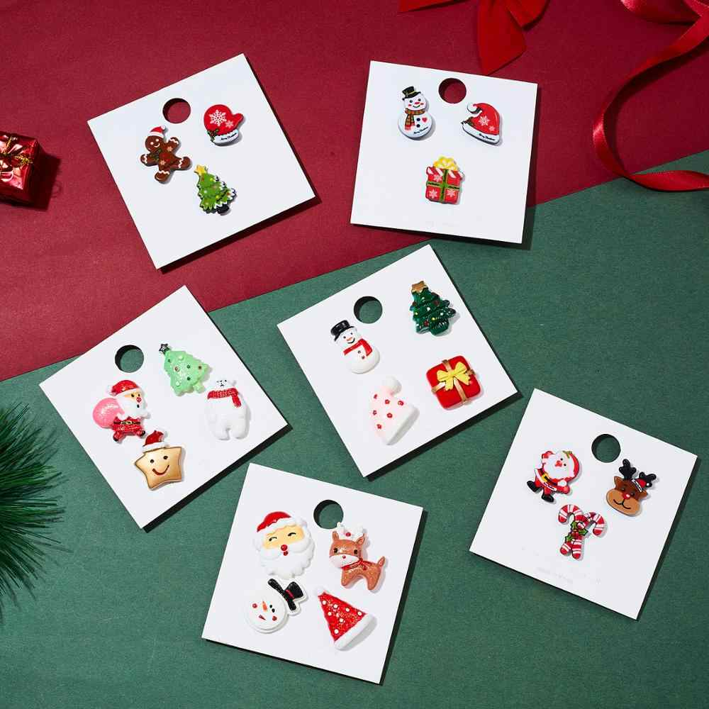 Ano novo árvore de natal broche conjuntos papai noel elk muleta boneco de neve broche presente caixa chapéu luvas estrela urso criativo presentes de natal