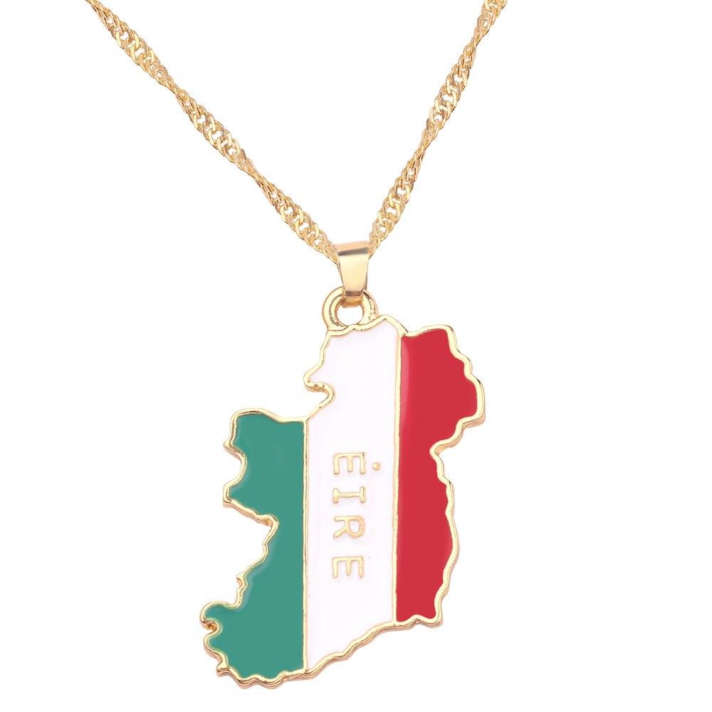 Новая карта страны, флаг, ожерелье, Африка, Гана, Liberia Undersea, Jamaica, Южная Африка, Congo, Honduras, подвеска, цепь, мужские ювелирные изделия - Окраска металла: Ireland