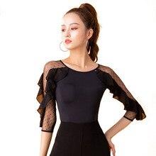 Ballroom Modern Ruffle O-neck Sexy Latin dance clothes top for women/female,Fashion Practice Costume performance wear YU0504