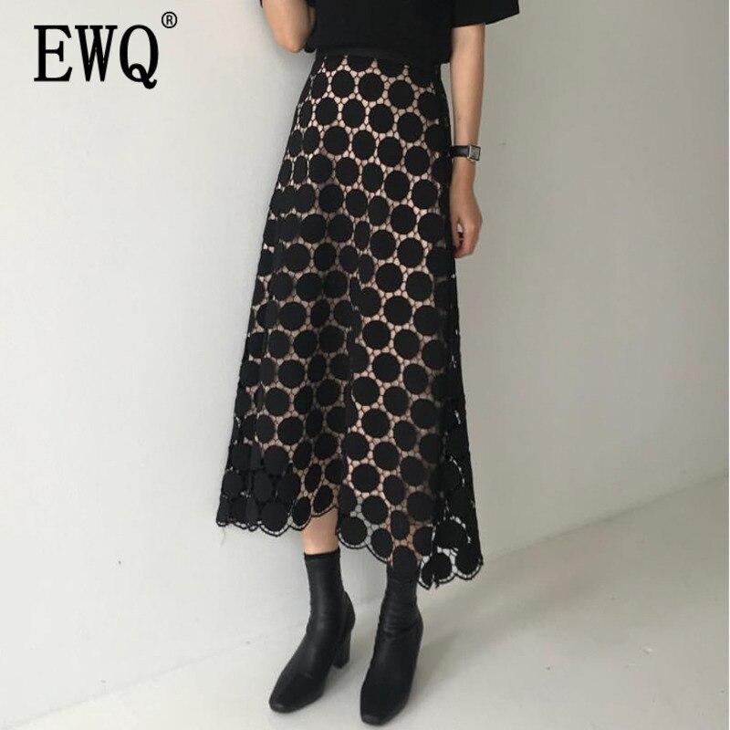 [EWQ] 2020 Spring Summer New Pattern High Waist Solid Patchwork Lace Dot Print Mesh Long Loose High Street Skirt Women AE40700L