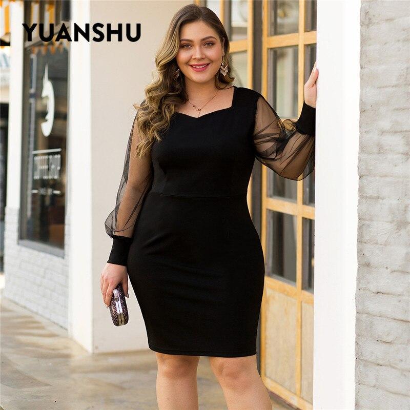 YUANSHU Elegant Black Plus Size Party Dress Women Mesh Long Sleeve Spring Autumn Dress Fashion Sexy XL-4XL Large Size Clothes