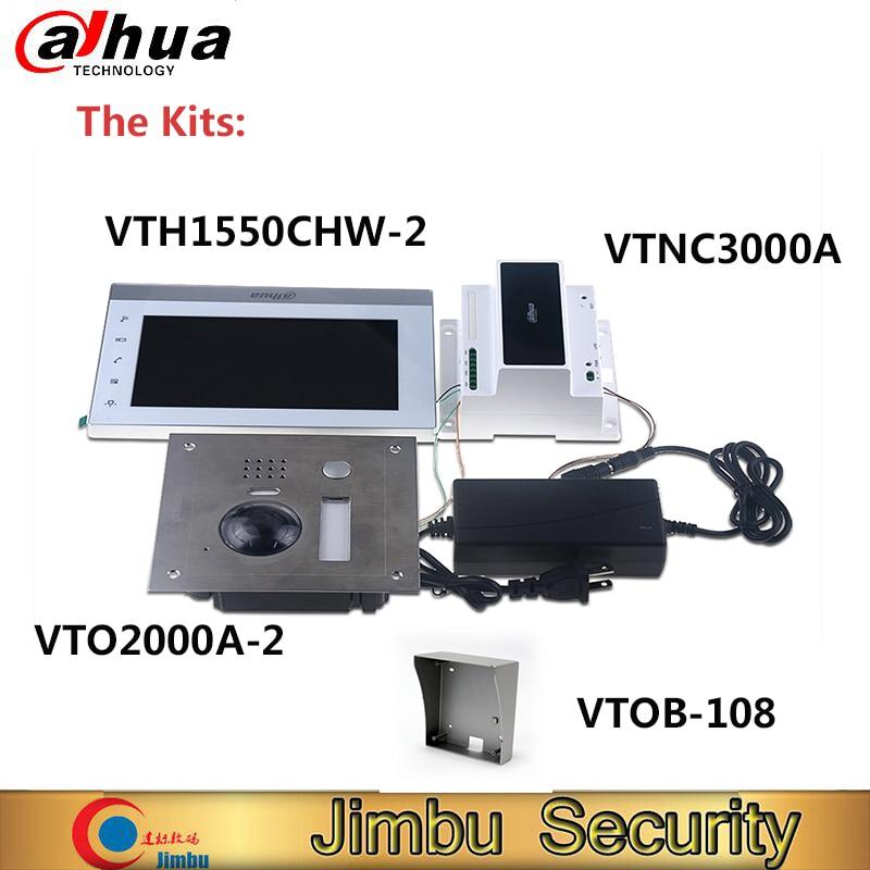 DAHUA IP 2-Wire Kit VTK-VTO2000A-2-VTH1550CHW-2 Remote Intercom With Mobile APP 2-Door Control