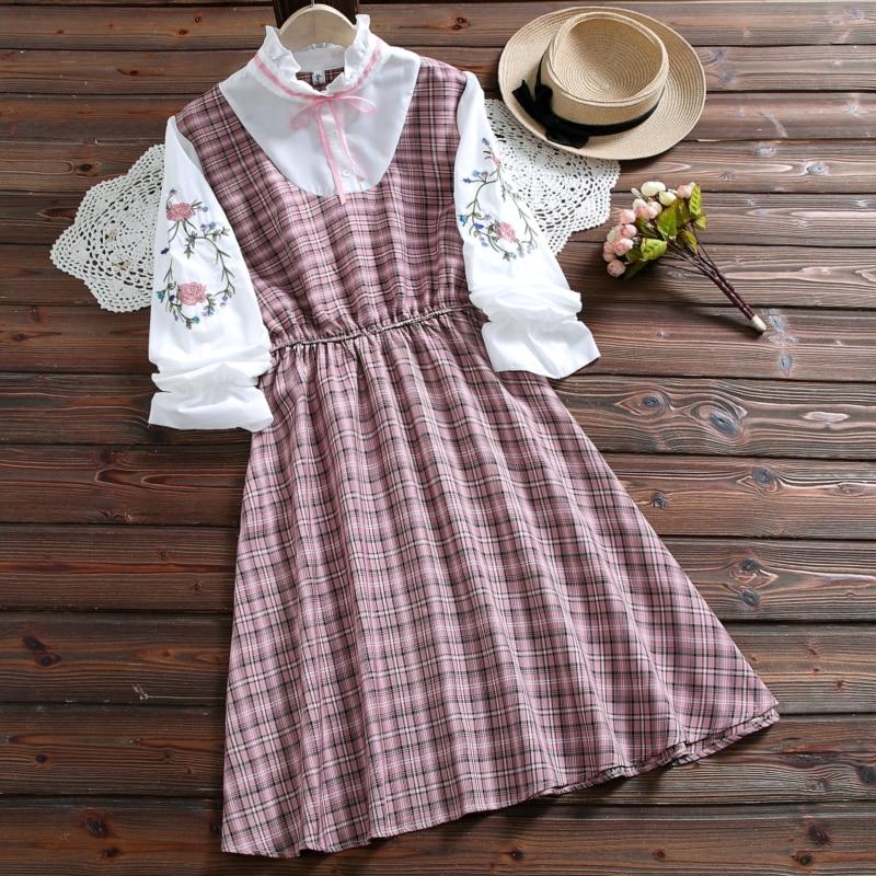 Женское Хлопковое платье Merry Pretty, клетчатое платье с длинным рукавом и цветочной вышивкой в японском стиле, зеленый и розовый цвета, для дево...