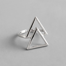 925 Sterling Silver Simple Fashionable Personality Hollow Geometry Double Triangle Opening Adjustable Lady Ring Hand Ornaments