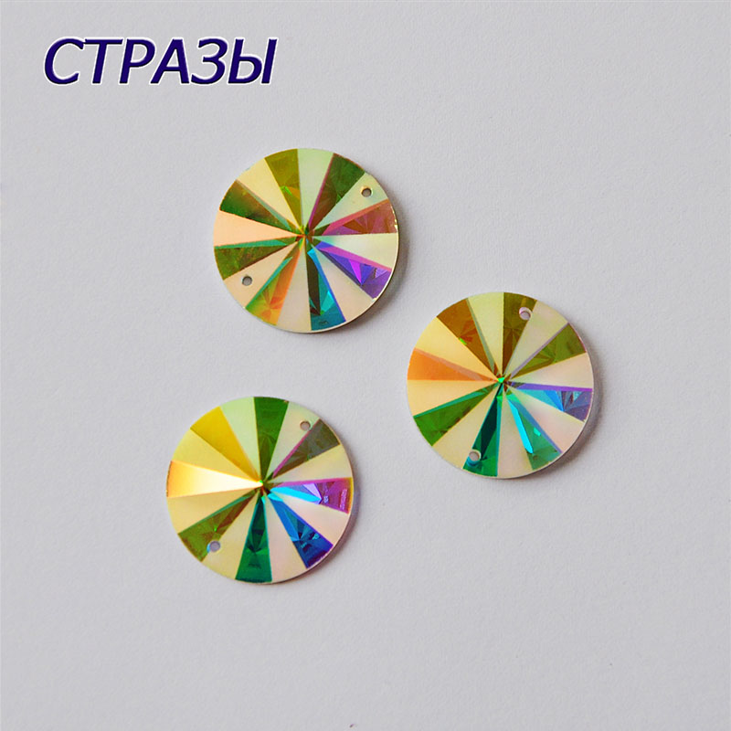 CTPA3bI Top 2004MTH Crystal AB Round Sewing Two Holes Rhinestones Glass Stones DIY Needlework Garments Applications For Clothes