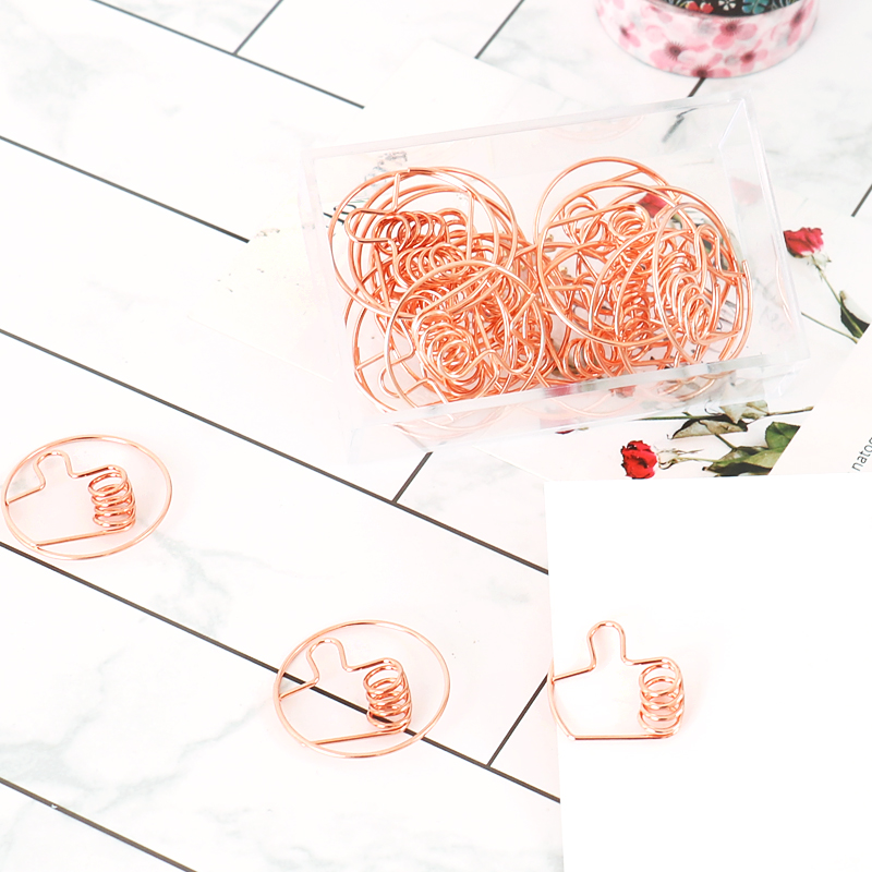 Electroplated Rose Gold Paper Clips Creative Thumb Style Clip Metal Paperclips Metal Paper Clips Bookmark 20pcs/box