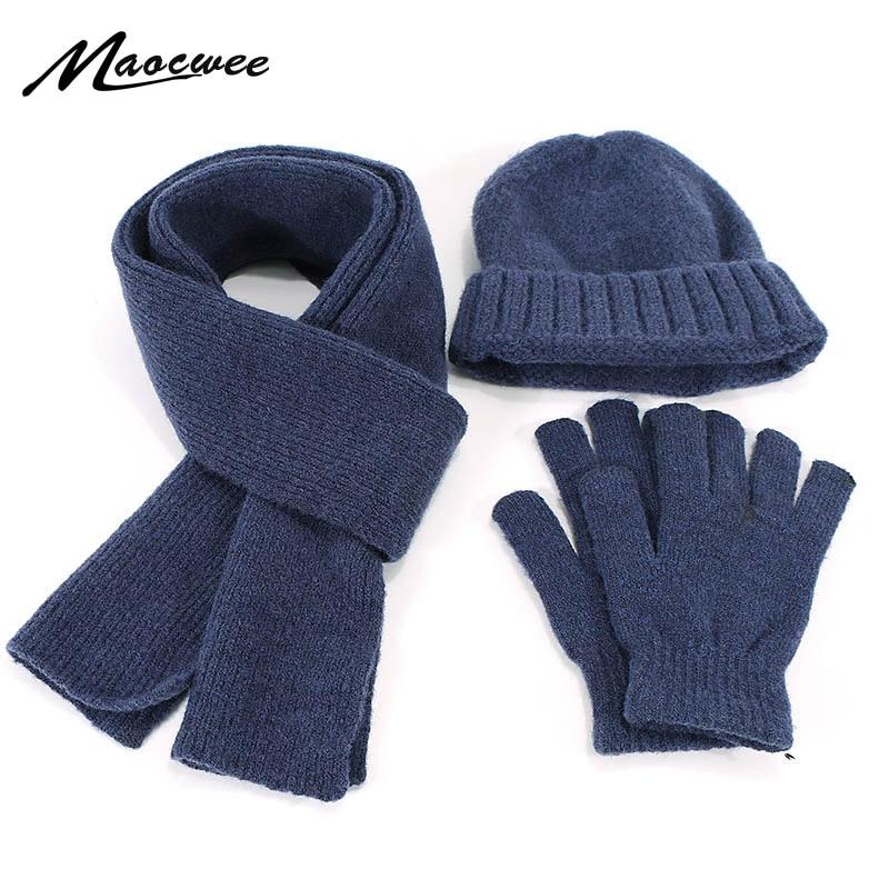 2019 Winter Hat Scarf Glove Set 3 Pieces For Men And Women Outdoor Knitted Warm Thicken Hat Skullies Beanie Scarf Gloves Set