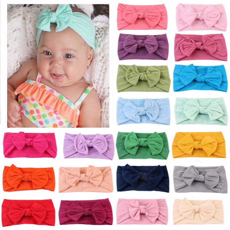 21 Colors Nylon Headband for Baby Girls Baby Boys Soft Bow Knot Turban Hair Bands Baby Hair Accessories for Children Headwear(China)