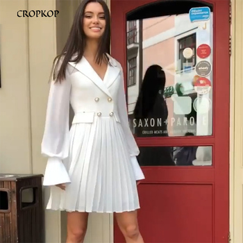 Fashion Summer Dress. New Double-Breasted Belted Blazer Dresses Womens - Office Casual Suit Top Dress Female Button White  1