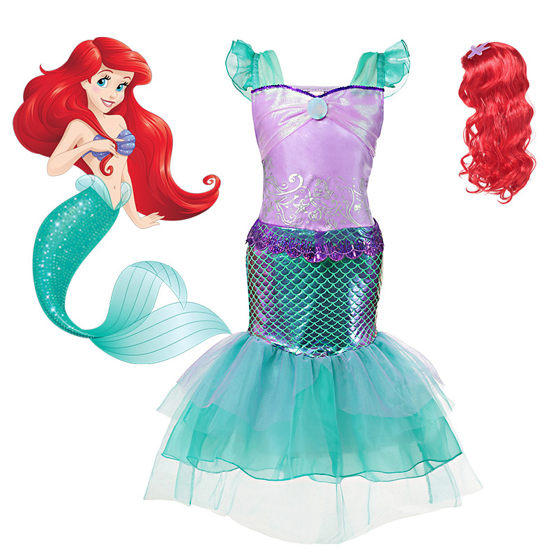 Comic Con Little Mermaid Cosplay Costume  For Girls Summer Make Up Party Clothing Kids Halloween Princess Ariel Dress Up Outfit