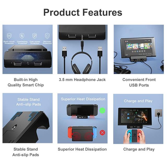 다기능 USB 3.0 15V TV HD Covertor 닌텐도 스위치 콘솔 충전 도킹 스테이션 스위치 라이트 3.5mm 오디오