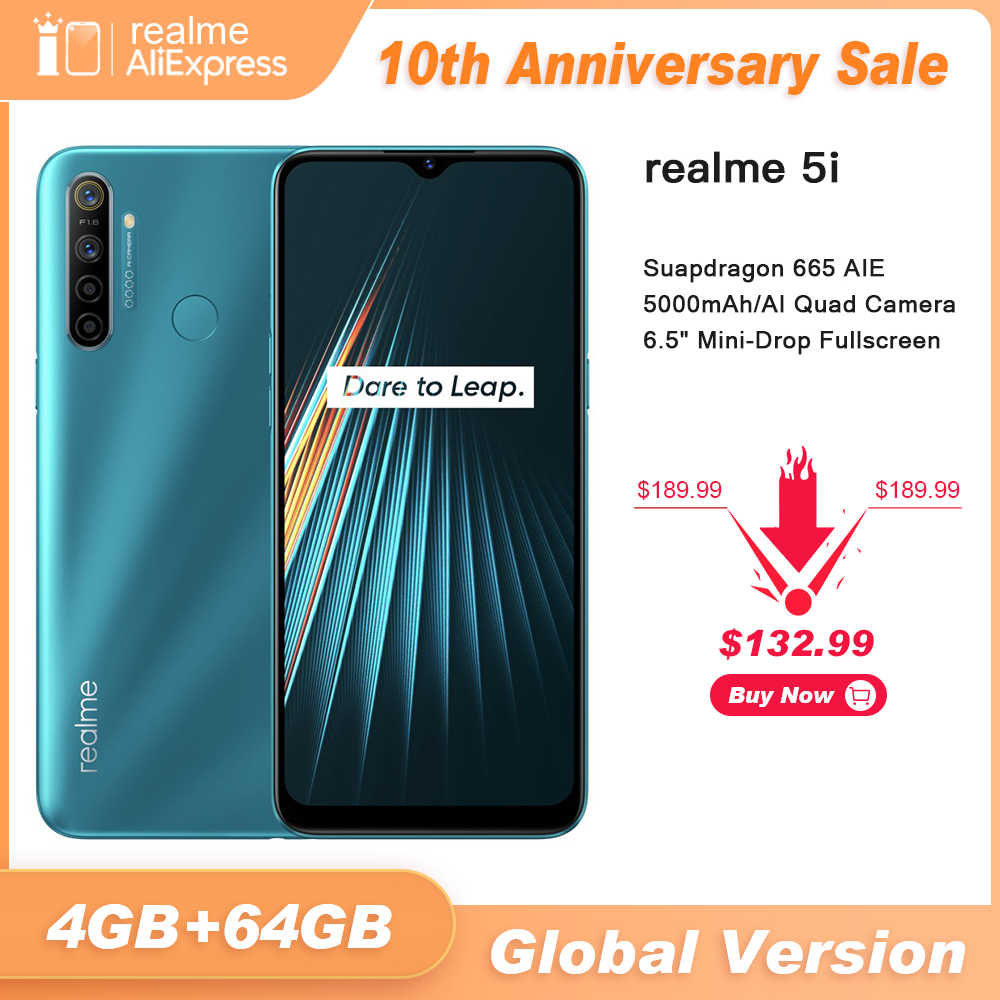 Globale Version realme 5i 4GB RAM 64GB ROM Handy Snapdragon 665 AIE 12MP Quad Kamera 6.5 ''handy 5000mAh Smartphone