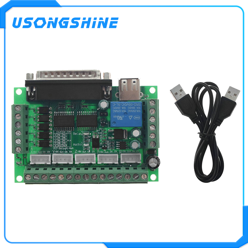 1pcs MACH3 Engraving machine 5 Axis CNC Breakout Board With Optical Coupler For Stepper Motor drive controller with USB cable