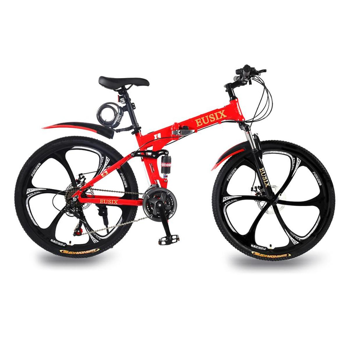 EUSIX X9 26 Inches Mountain Bike Aluminum Frame Folding Bicycle With Dual Suspension And 21 Speed Gear Mens Mountain Bicycle MTB