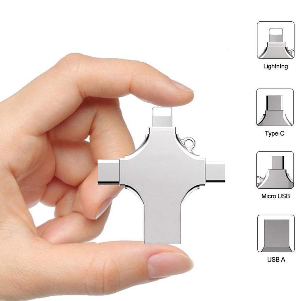 USB флеш-накопитель 4 в 1 Type-C OTG, 16 ГБ, 32 ГБ, флешка 64 ГБ, USB флешка 128 ГБ, 256 ГБ, карта памяти для iPhone, Android, ПК, 256 ГБ