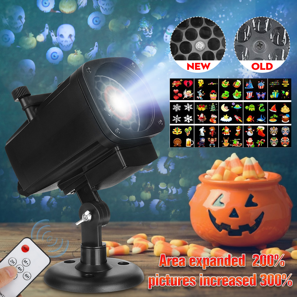 Merry Christmas 12 Pattern Projector Lamp Snowflake Projector Spotlight LED Landscape Light For Halloween Party Waterproof