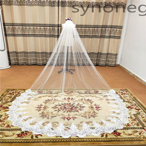 Image 1 - Real Photo Real Photo 3m One Layer Wedding Veil With Comb White Lace Edge Bridal Veils Ivory Cathedral Wedding Veil 5m