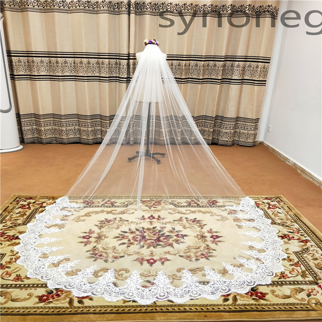 Real Photo Real Photo 3m One Layer Wedding Veil With Comb White Lace Edge Bridal Veils Ivory Cathedral Wedding Veil 5m