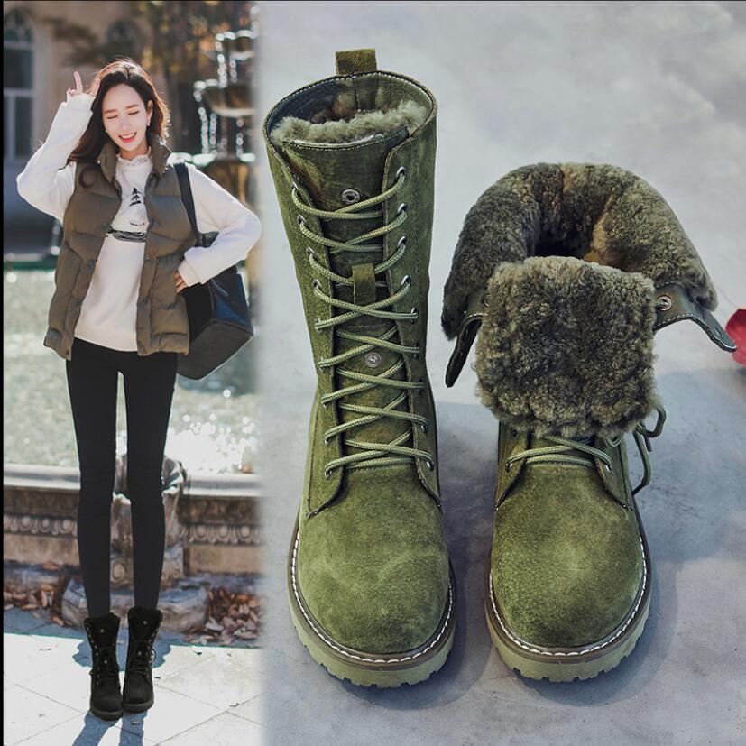 Koovan Women's Warm Boots 2020 Winter Genuine Leatherfur Snow Boots Women Middle Waterproof Plush Flat Bottom Cotton Shoes 41