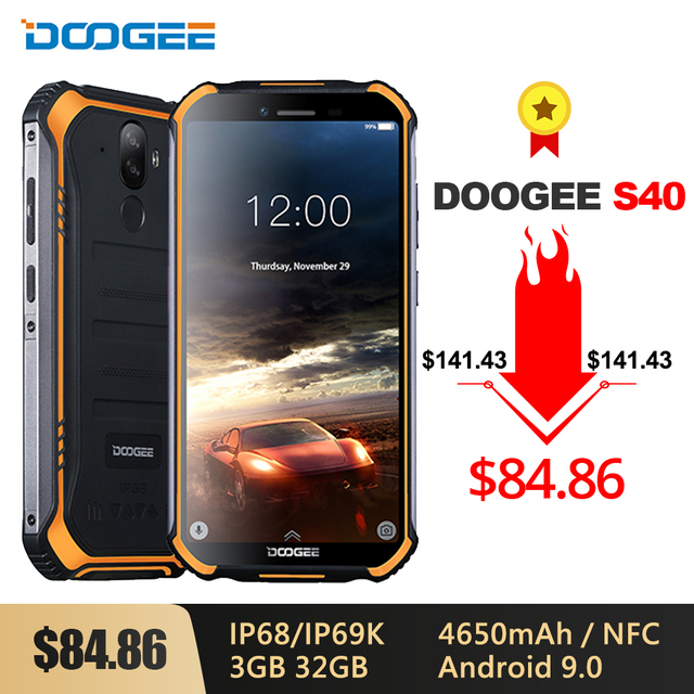 DOOGEE S40 IP68/IP69K 4G Rugged Mobile Phone 3GB RAM 32GB ROM Android 9.0 5.5 inch 4650mAh MT6739 Quad Core 8.0MP 4G Smartphone