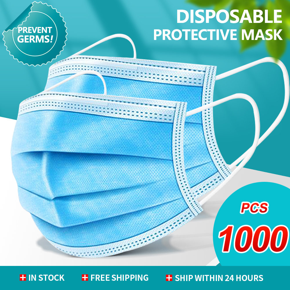1000pcs Face Mouth Protective Mask Disposable Protect 3 Layers Filter Dustproof Earloop Non Woven Mouth Masks 48 Hours Shipping