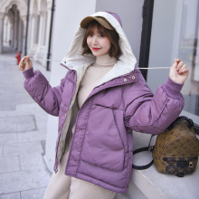 KMVEXO 2019 Fashion Winter Hooded Short Jacket Coat Long Sleeve Warm Female Loose Parkas Solid Sweet Office Lady