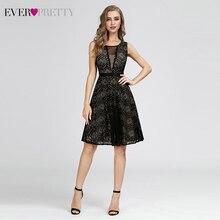 Черные короткие коктейльные платья Ever Pretty A-Line с v-образным вырезом без рукавов, сексуальные кружевные вечерние платья Vestidos De Coctel