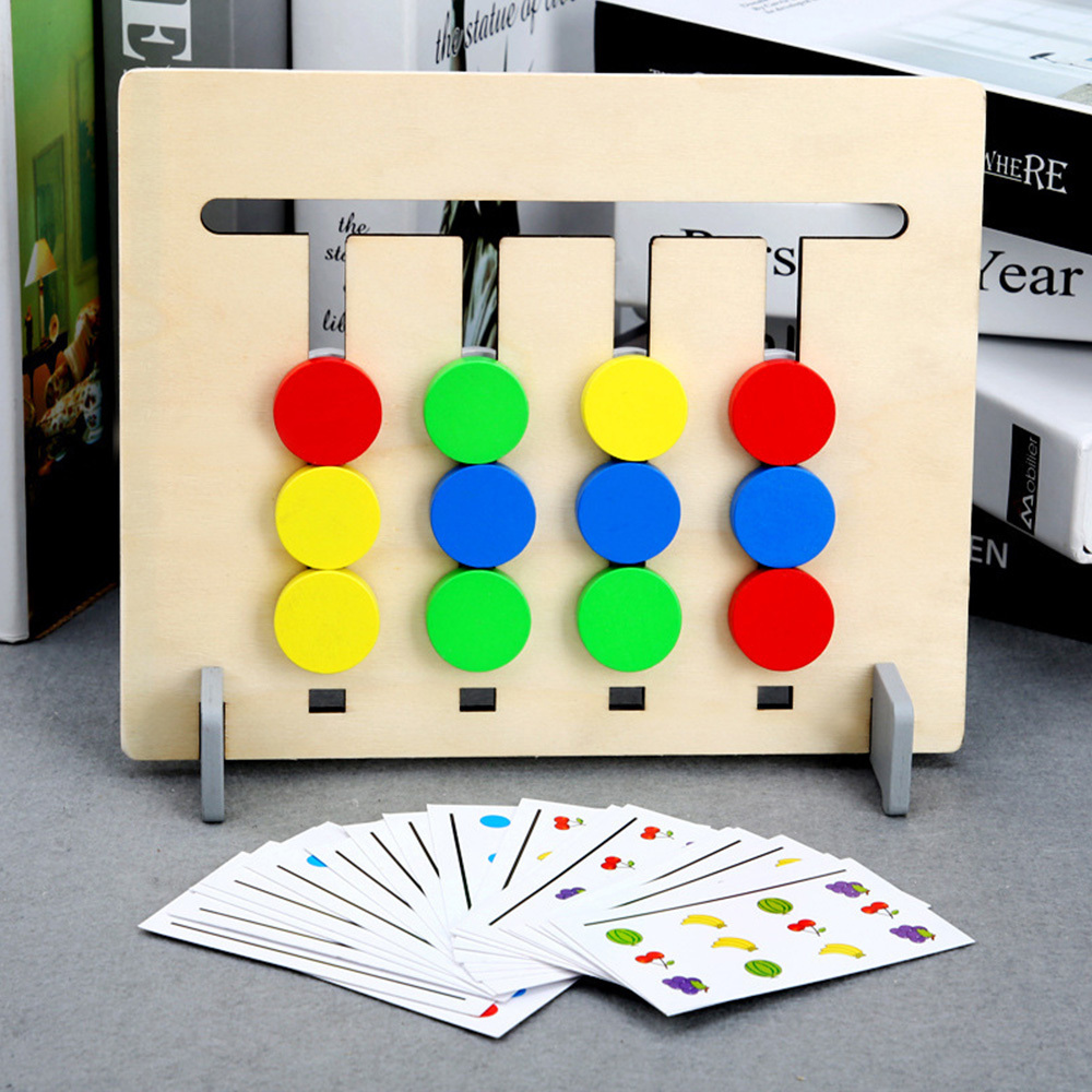 New Arrival Colors Fruits Double Sided Matching Game Logical Reasoning Training Kids Educational Wooden Toys Dropshipping