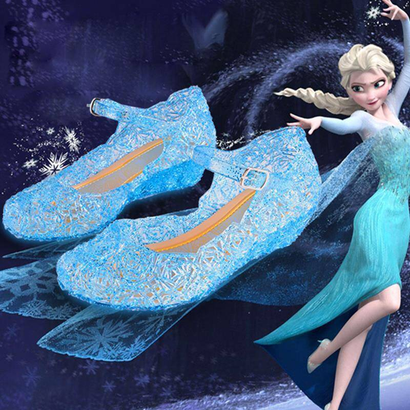 Disney Frozen Slippers Kids Sandals Water Shoes Water-proof Summer Princess Crystal Girls Sandals Waterproof  Girls Shoes