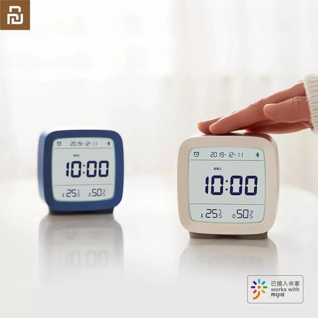 In magazzino Originale youpin Qingping Bluetooth di allarme di temperatura e umidità orologio di monitoraggio luce di notte tre in one 3 colori