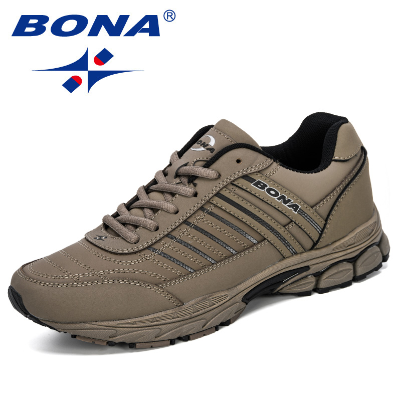 BONA 2019 New Designers Action Leather Sneakers Men Outdoor Running Shoes Men Sports Shoes Walking Athletic Trainers Male Trendy