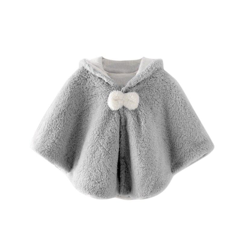 Милая осенняя одежда для новорожденных девочек; пальто с капюшоном и рисунком; плащ; двухслойная куртка; милый зимний комбинезон; верхняя одежда - Цвет: Серый
