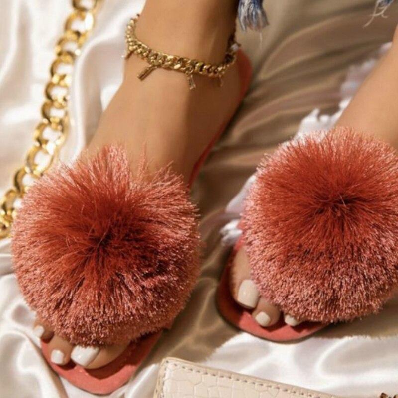 Verão feminino chinelos bola de pele sólida rebanho plana peep toe peep toe slides casuais moda feminina senhoras sapatos zapatos de mujer