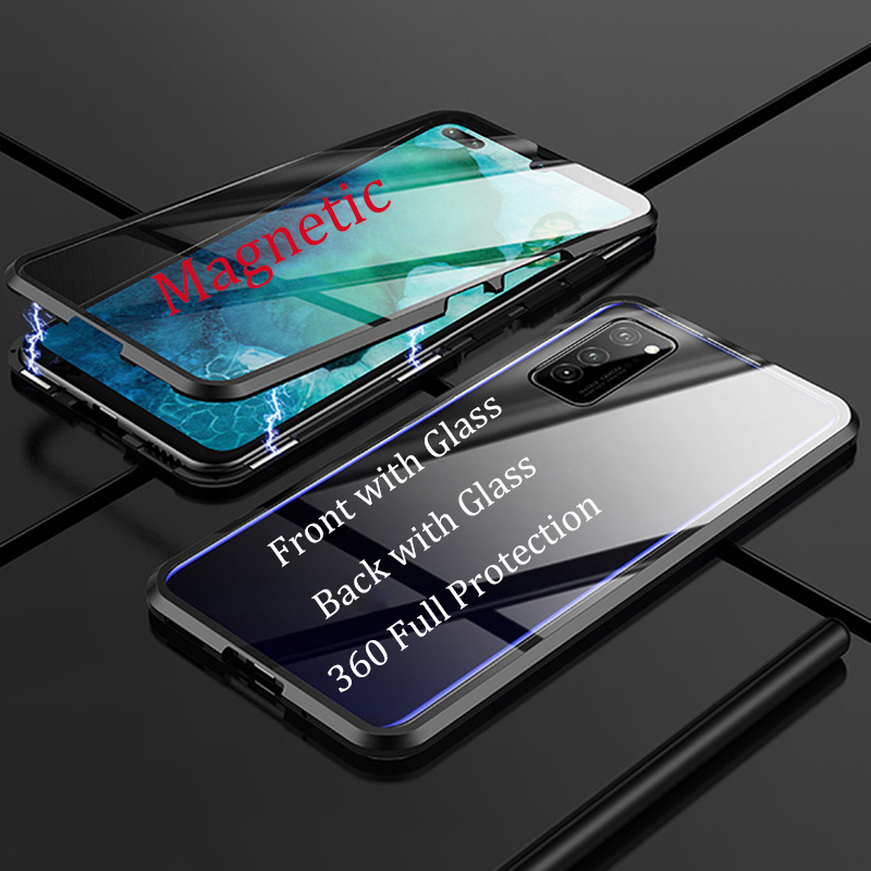 Magnetic Case for Samsung A91 A71 A51 Case Front+Back double-sided 9H Tempered Glass Case for Samsung S10 Lite Metal Bumper Case