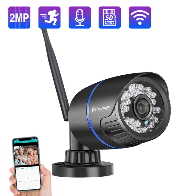 Techage 1080P 2MP Wireless IP Camera IR Night Vision Audio Record P2P Onvif Video Security Wifi Camera Outdoor CCTV Surveillance 1