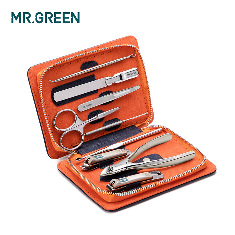 MR.GREEN 9PCS/set Nails Art Clipper Scissors Tweezer Knife Toe Professional Manicure Set Nosehair Cut Grooming KitManicure Tools