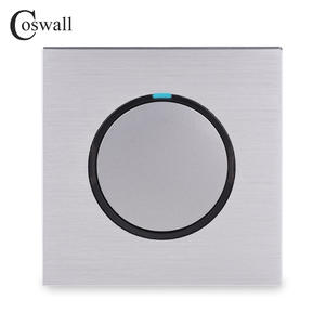 Image 2 - Coswall 1 Gang 1 Way Random Click On / Off Wall Light Switch With LED Indicator Black / Silver Grey Brushed Aluminum Metal Panel