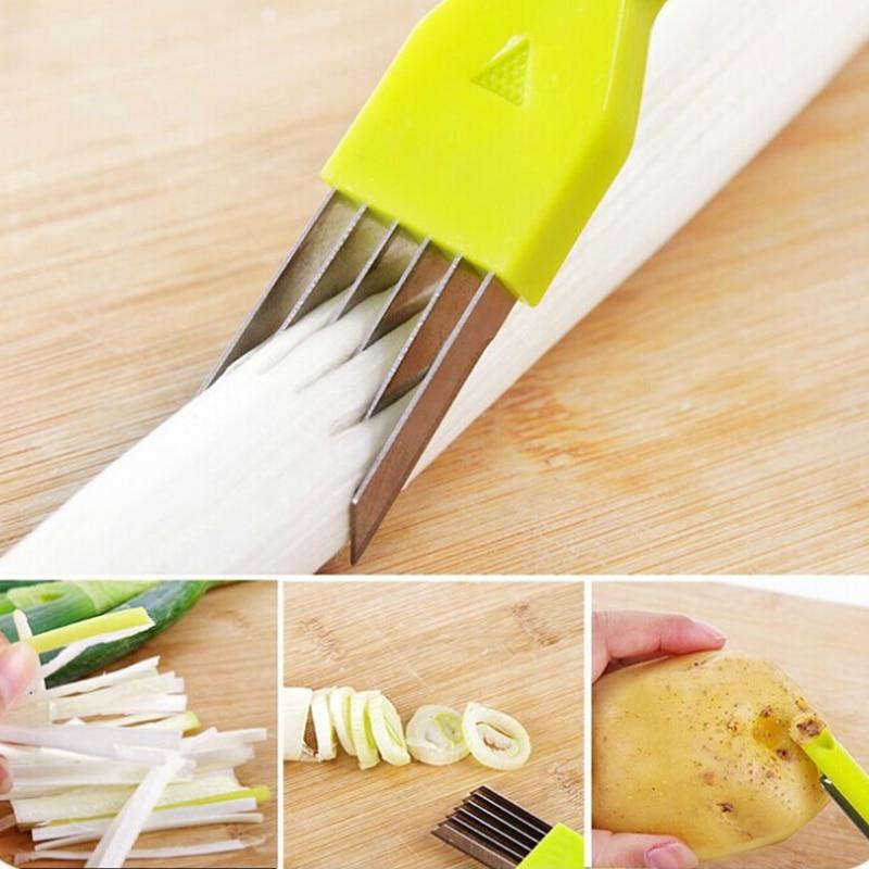 16,5*2,5 cm multifunción 2 en 1 Cuchillo de cebolla cuchillo de pelado perforación agujeros magic cut cebolla cocina frutas y verduras pelador herramienta