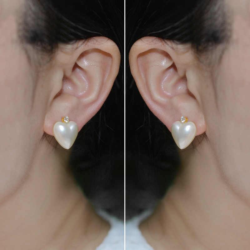 NINFA 18K Oro Giallo a forma di Cuore Perla Mabe Stut Orecchini AU750 Gioielleria Raffinata per Le Donne E372