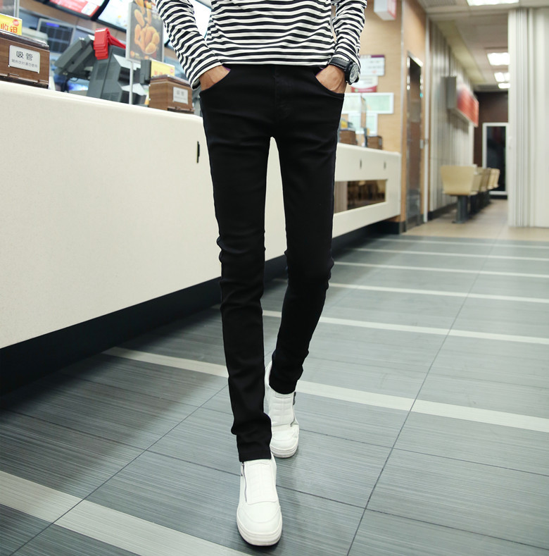 Spring Korean-style Slim Fit MEN'S Jeans Skinny Trend Youth Men Straight-Cut Pencil Pants Japanese-style Casual Trousers