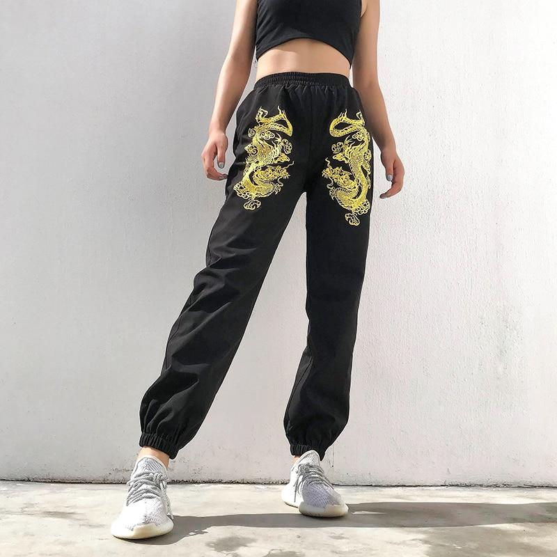 Dragon Printed Black Joggers Women Elastic High Waist Trousers Ladies Baggy Black Pants Capri Streetwear Summer 2020